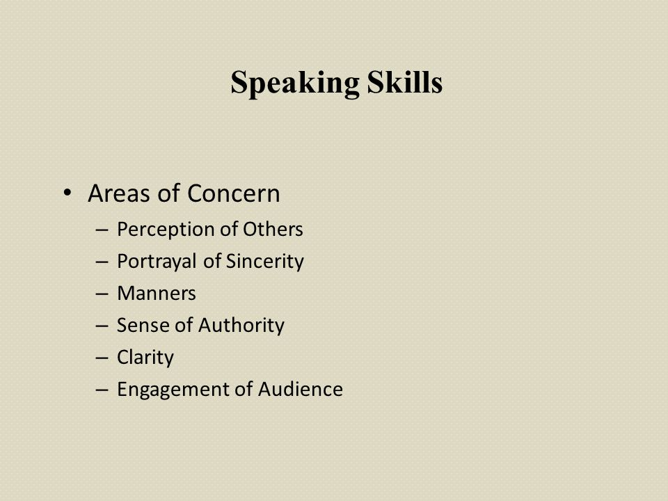 Speaking Skills Areas of Concern – Perception of Others – Portrayal of Sincerity – Manners – Sense of Authority – Clarity – Engagement of Audience