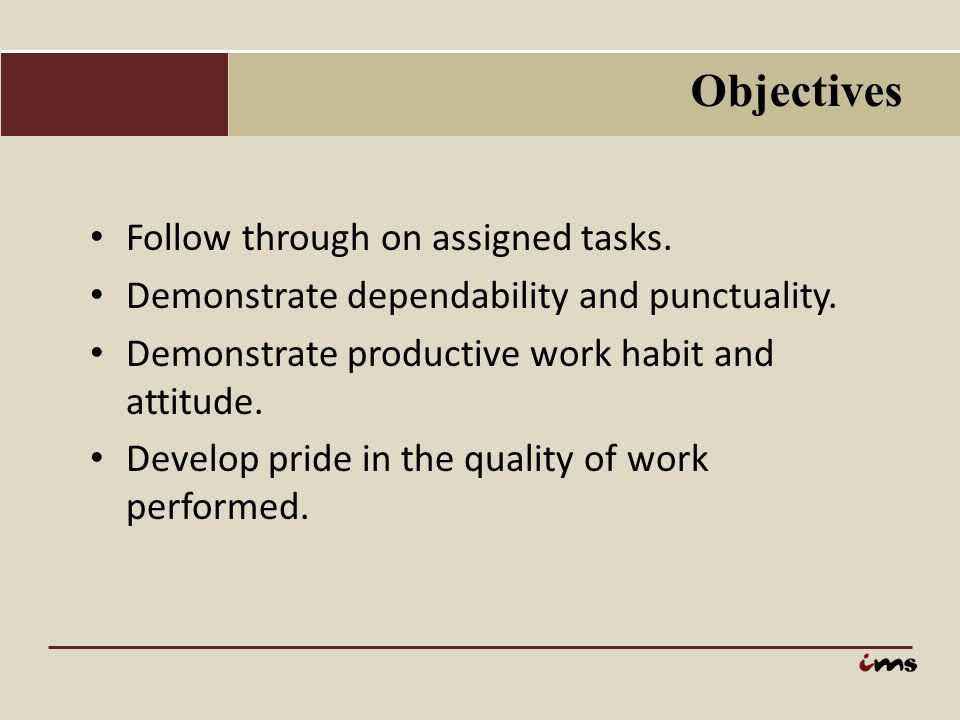 Objectives Recognize the dignity of work.Develop skills in planning and organizing work.