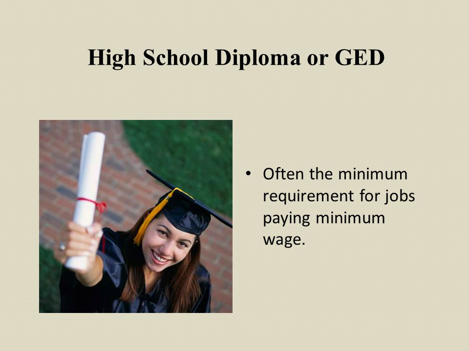 High School Diploma or GED Often the minimum requirement for jobs paying minimum wage.