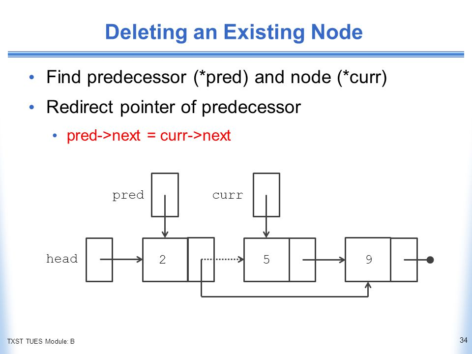 TXST TUES Module: B Deleting an Existing Node Find predecessor (*pred) and node (*curr) Redirect pointer of predecessor pred->next = curr->next 34 head predcurr 259