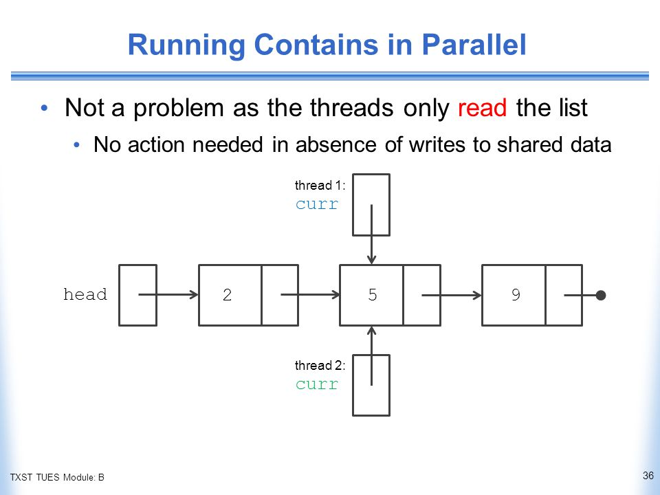 TXST TUES Module: B Running Contains in Parallel Not a problem as the threads only read the list No action needed in absence of writes to shared data 36 head thread 1: curr thread 2: curr 259