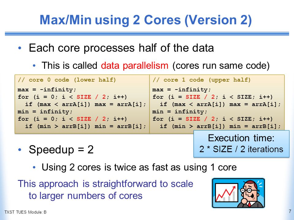 TXST TUES Module: B Max/Min using 2 Cores (Version 2) Each core processes half of the data This is called data parallelism (cores run same code) Speedup = 2 Using 2 cores is twice as fast as using 1 core This approach is straightforward to scale to larger numbers of cores 7 // core 0 code (lower half) max = -infinity; for (i = 0; i < SIZE / 2; i++) if (max < arrA[i]) max = arrA[i]; min = infinity; for (i = 0; i < SIZE / 2; i++) if (min > arrB[i]) min = arrB[i]; // core 0 code (lower half) max = -infinity; for (i = 0; i < SIZE / 2; i++) if (max < arrA[i]) max = arrA[i]; min = infinity; for (i = 0; i < SIZE / 2; i++) if (min > arrB[i]) min = arrB[i]; // core 1 code (upper half) max = -infinity; for (i = SIZE / 2; i < SIZE; i++) if (max < arrA[i]) max = arrA[i]; min = infinity; for (i = SIZE / 2; i < SIZE; i++) if (min > arrB[i]) min = arrB[i]; // core 1 code (upper half) max = -infinity; for (i = SIZE / 2; i < SIZE; i++) if (max < arrA[i]) max = arrA[i]; min = infinity; for (i = SIZE / 2; i < SIZE; i++) if (min > arrB[i]) min = arrB[i]; Execution time: 2 * SIZE / 2 iterations Execution time: 2 * SIZE / 2 iterations