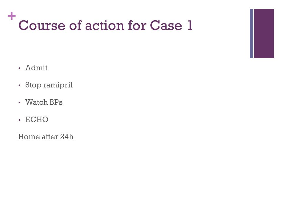 + Course of action for Case 1 Admit Stop ramipril Watch BPs ECHO Home after 24h