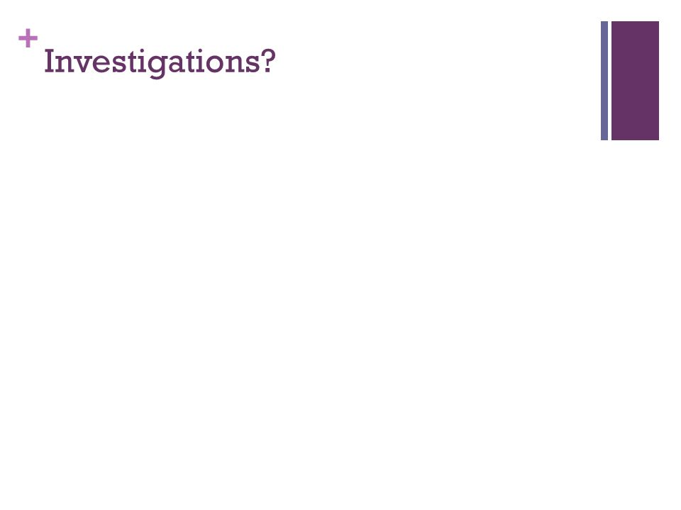 + Investigations