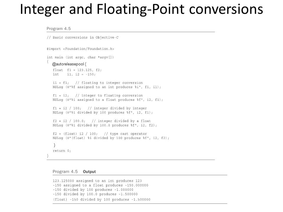 Integer and Floating-Point conversions @autoreleasepool { }