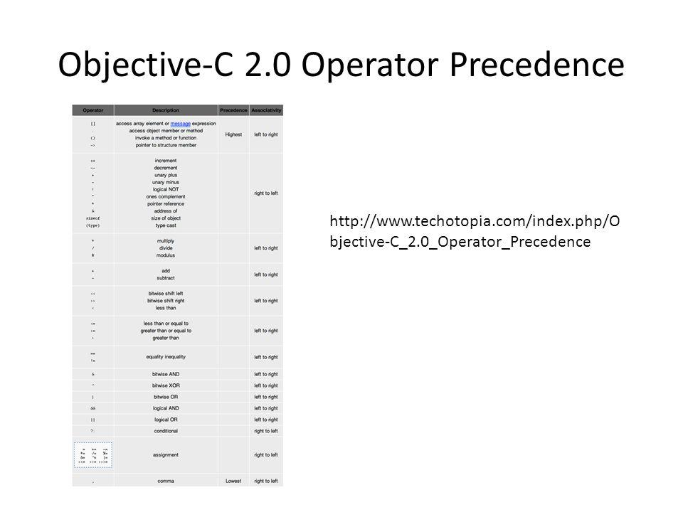 Objective-C 2.0 Operator Precedence http://www.techotopia.com/index.php/O bjective-C_2.0_Operator_Precedence
