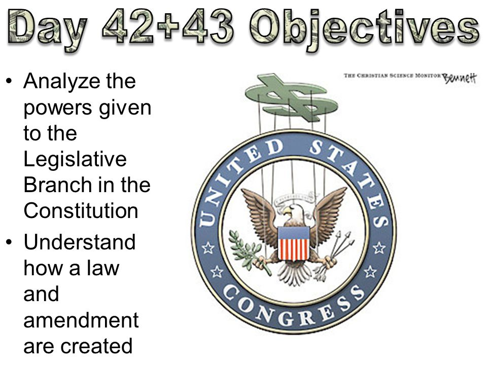 Analyze the powers given to the Legislative Branch in the Constitution Understand how a law and amendment are created