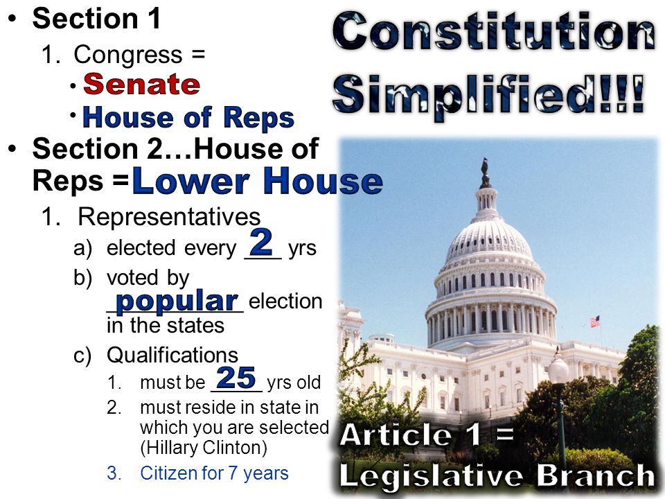 Section 1 1.Congress = Section 2…House of Reps = 1.Representatives a)elected every ___ yrs b)voted by ___________ election in the states c)Qualifications 1.must be _____ yrs old 2.must reside in state in which you are selected (Hillary Clinton) 3.Citizen for 7 years
