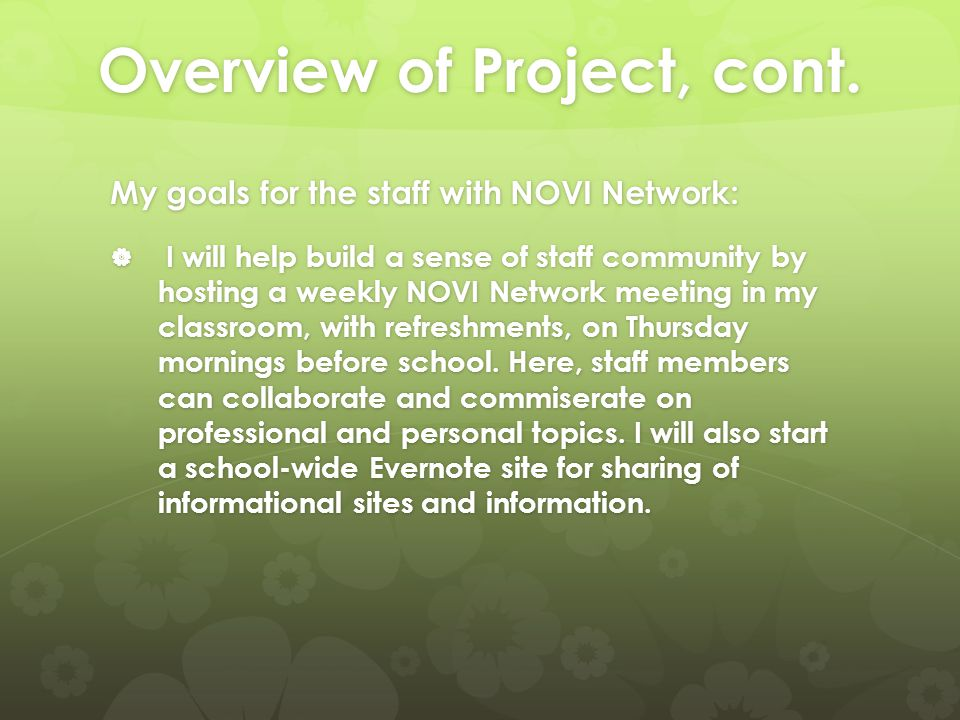 Overview of Project, cont.