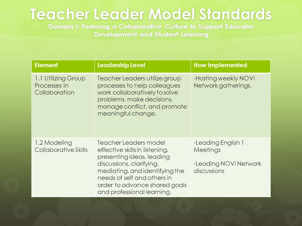 Teacher Leader Model Standards Domain I: Fostering a Collaborative Culture to Support Educator Development and Student Learning ElementLeadership LevelHow Implemented 1.1 Utilizing Group Processes in Collaboration Teacher Leaders utilize group processes to help colleagues work collaboratively to solve problems, make decisions, manage conflict, and promote meaningful change.
