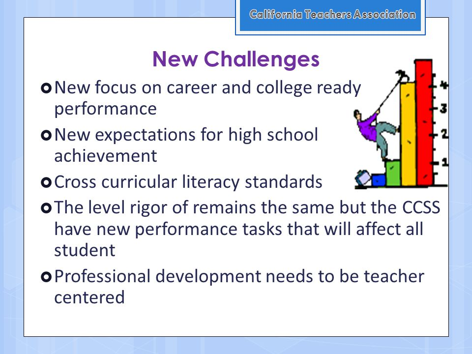 New Challenges  New focus on career and college ready performance  New expectations for high school achievement  Cross curricular literacy standards  The level rigor of remains the same but the CCSS have new performance tasks that will affect all student  Professional development needs to be teacher centered