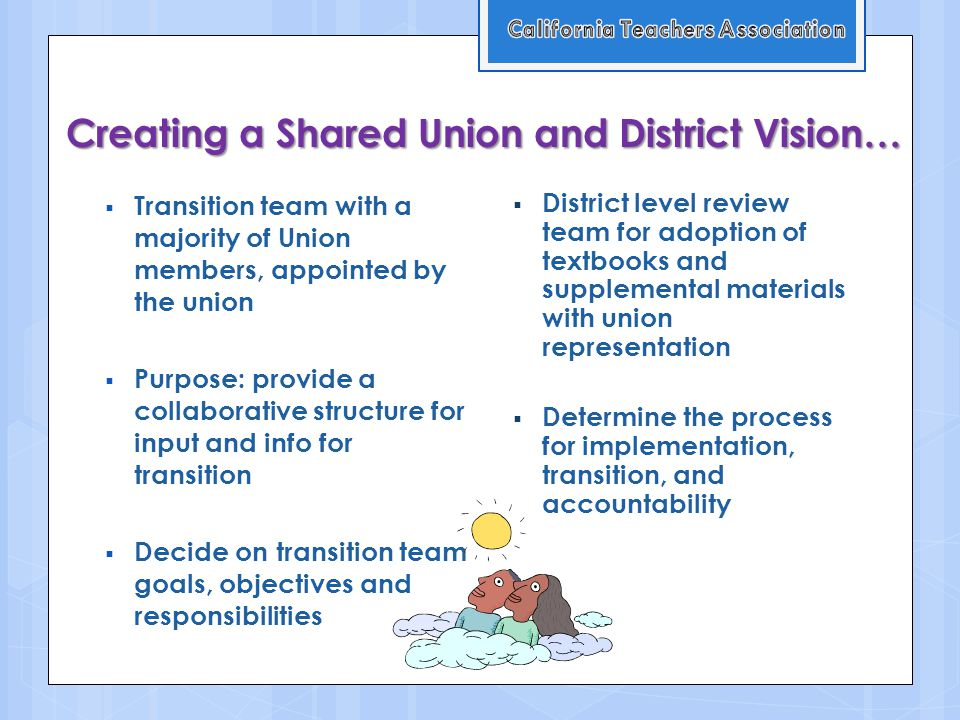 Creating a Shared Union and District Vision…  Transition team with a majority of Union members, appointed by the union  Purpose: provide a collaborative structure for input and info for transition  Decide on transition team goals, objectives and responsibilities  District level review team for adoption of textbooks and supplemental materials with union representation  Determine the process for implementation, transition, and accountability