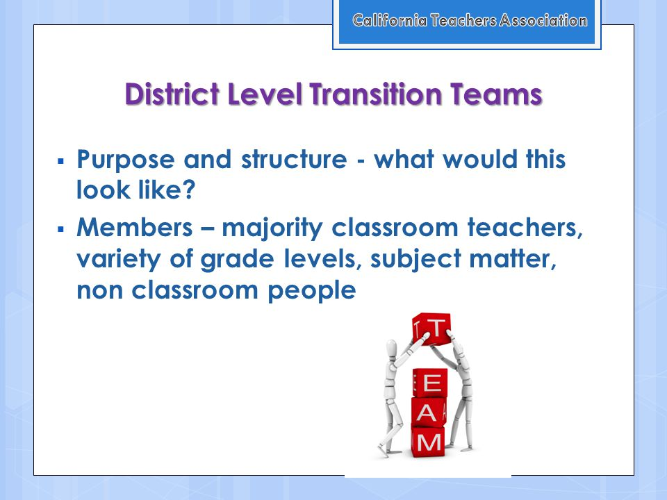 District Level Transition Teams  Purpose and structure - what would this look like.