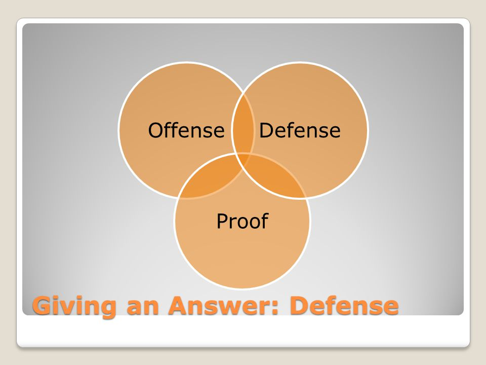 Giving an Answer: Defense Offense Proof Defense