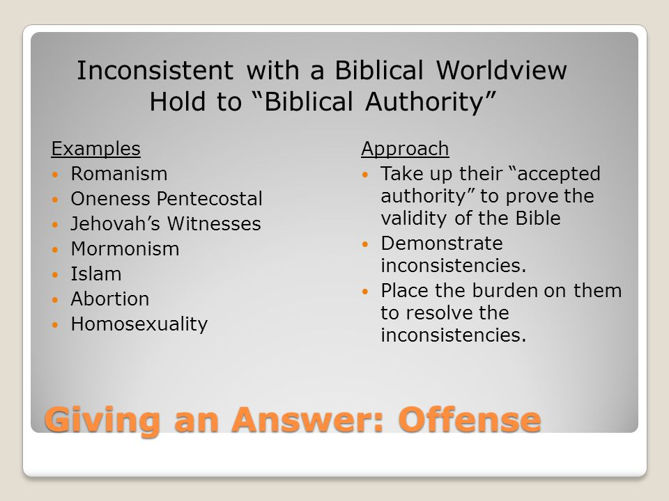 "Giving an Answer: Offense Examples Romanism Oneness Pentecostal Jehovah's Witnesses Mormonism Islam Abortion Homosexuality Approach Take up their ""acc"