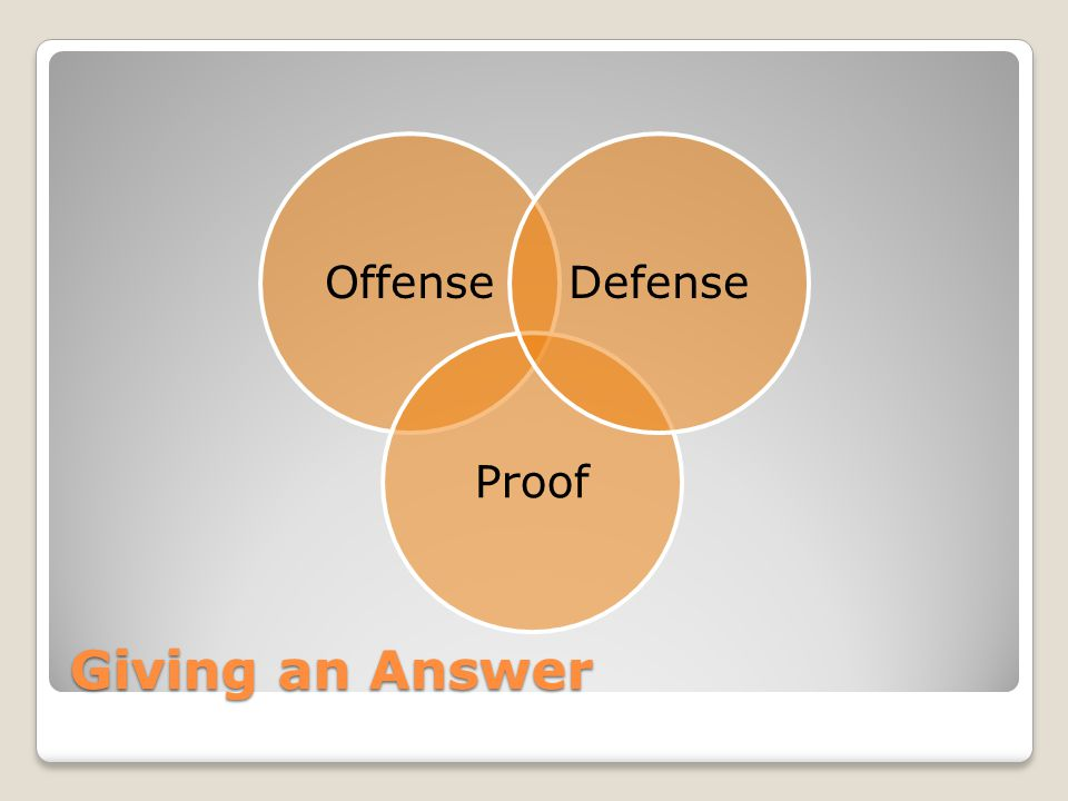 Giving an Answer Offense Proof Defense