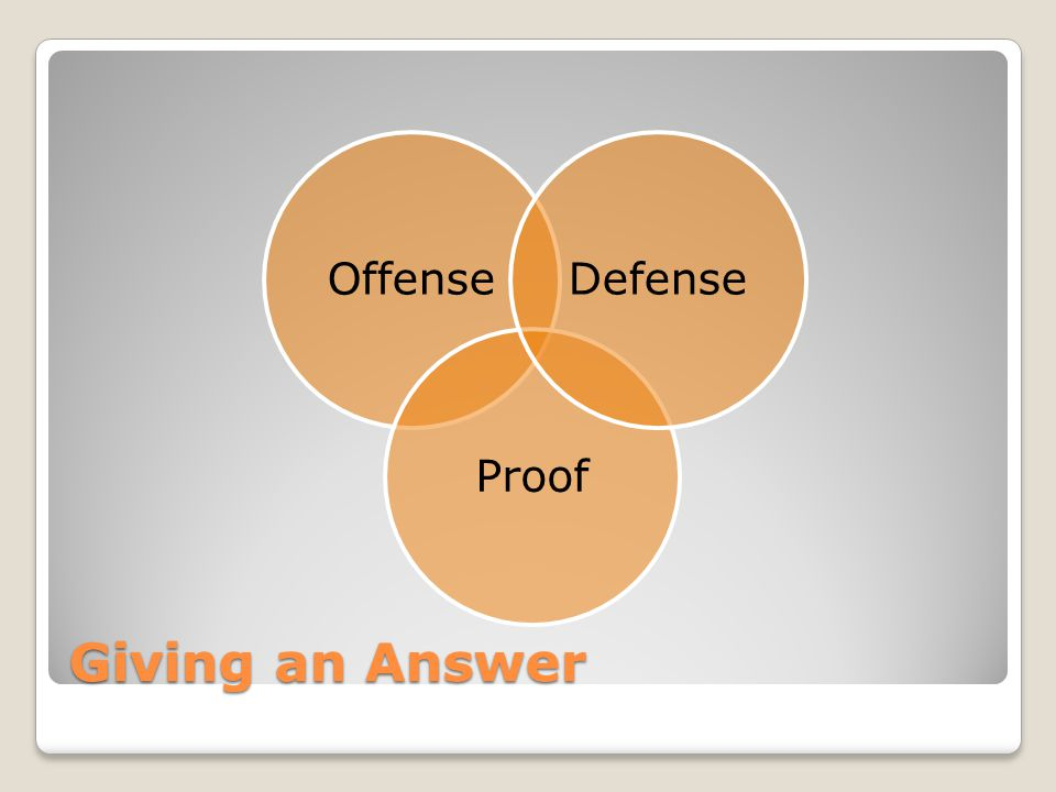 Giving an Answer OffenseProofDefense