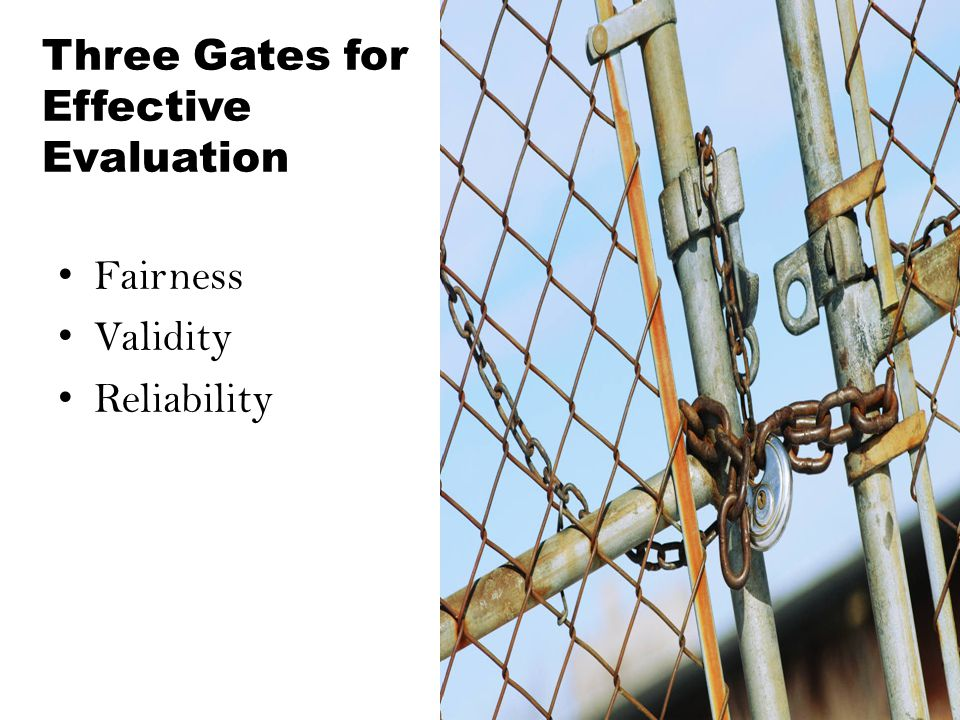 Three Gates for Effective Evaluation Fairness Validity Reliability