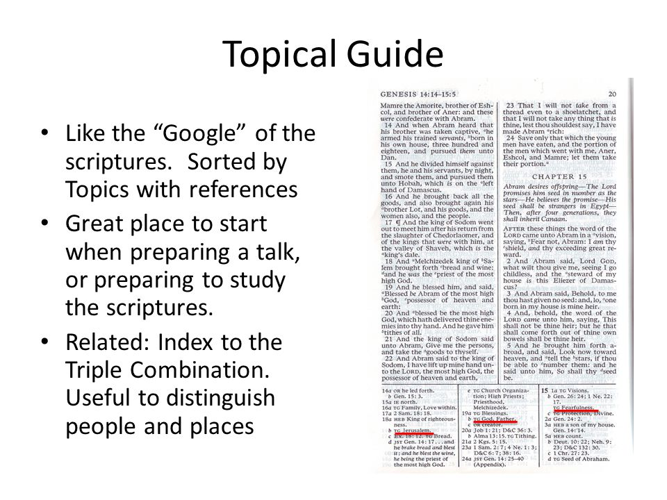 Topical Guide Like the Google of the scriptures.