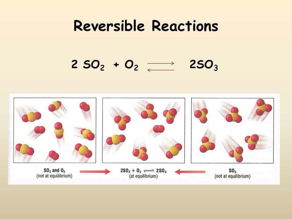 Reversible Reactions 2 SO 2 + O 2 2SO 3
