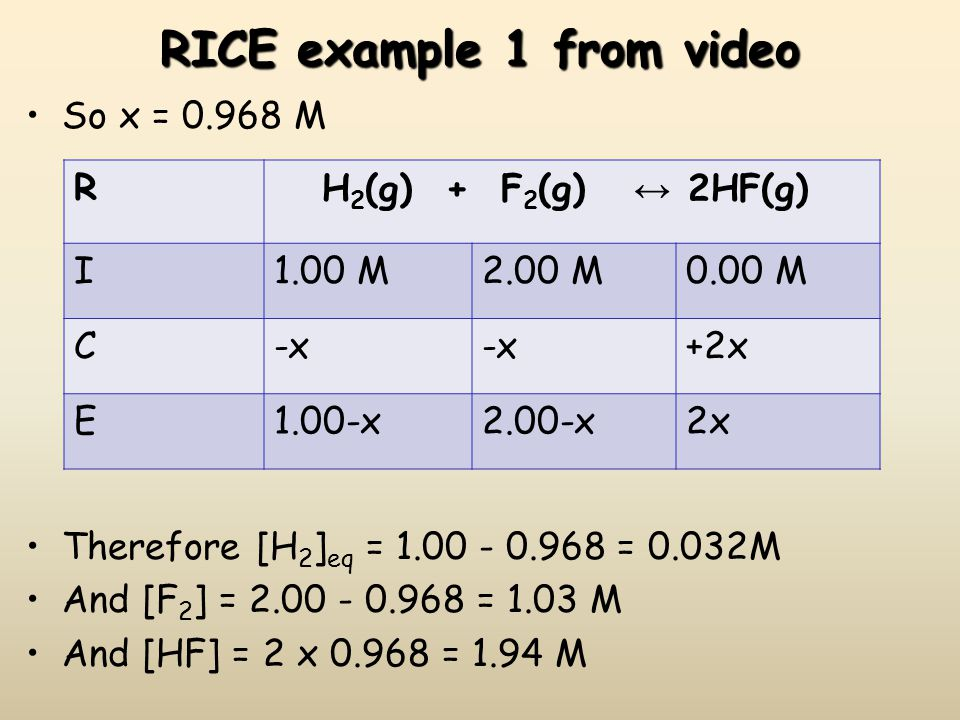 RICE example 1 from video So x = 0.968 M Therefore [H 2 ] eq = 1.00 - 0.968 = 0.032M And [F 2 ] = 2.00 - 0.968 = 1.03 M And [HF] = 2 x 0.968 = 1.94 M
