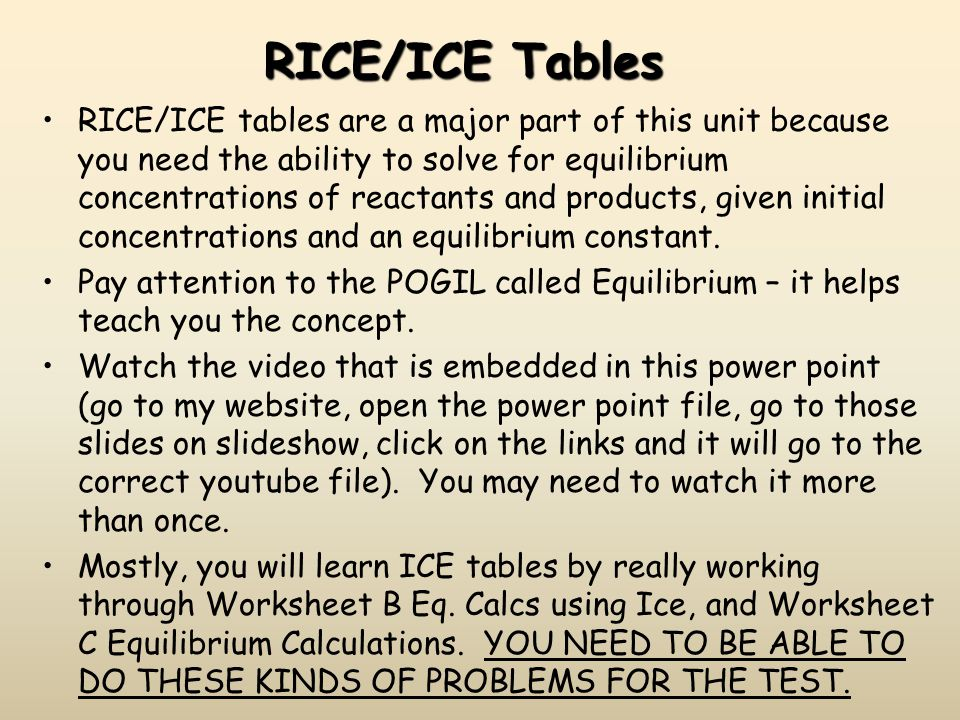 RICE/ICE Tables RICE/ICE tables are a major part of this unit because you need the ability to solve for equilibrium concentrations of reactants and pr