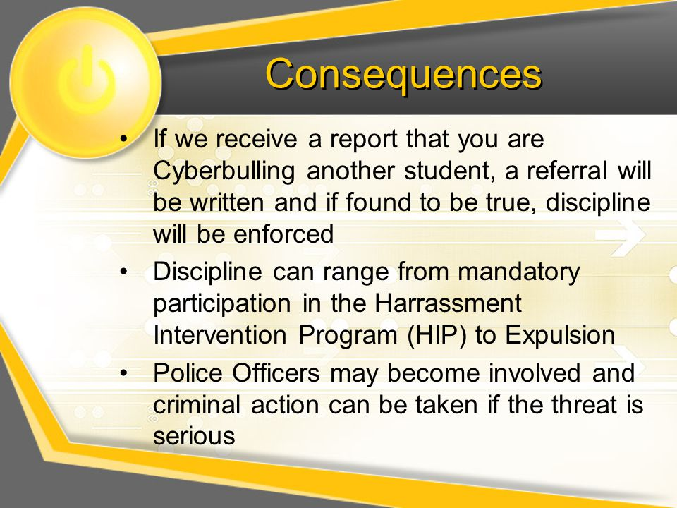 Consequences If we receive a report that you are Cyberbulling another student, a referral will be written and if found to be true, discipline will be enforced Discipline can range from mandatory participation in the Harrassment Intervention Program (HIP) to Expulsion Police Officers may become involved and criminal action can be taken if the threat is serious