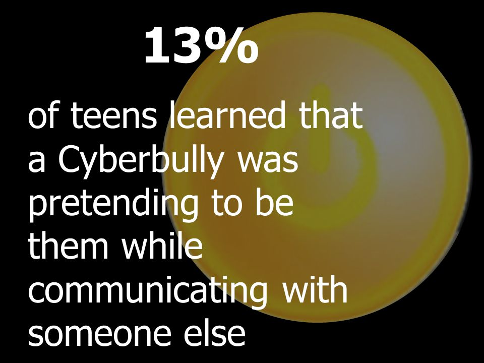 Teens currently use their own methods to counter cyberbullying, and many teens respond with a variety of reactions: Thirty-six percent asked the bully to stop Thirty-four percent blocked communication Thirty-four percent talked to friends about the bullying Twenty-nine percent did nothing about the bullying Twenty-eight percent signed offline 13% of teens learned that a Cyberbully was pretending to be them while communicating with someone else