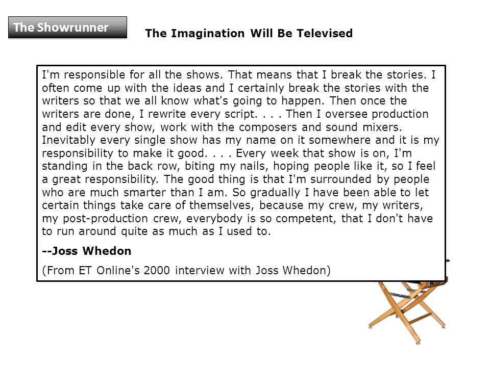 The Imagination Will Be Televised I m responsible for all the shows.