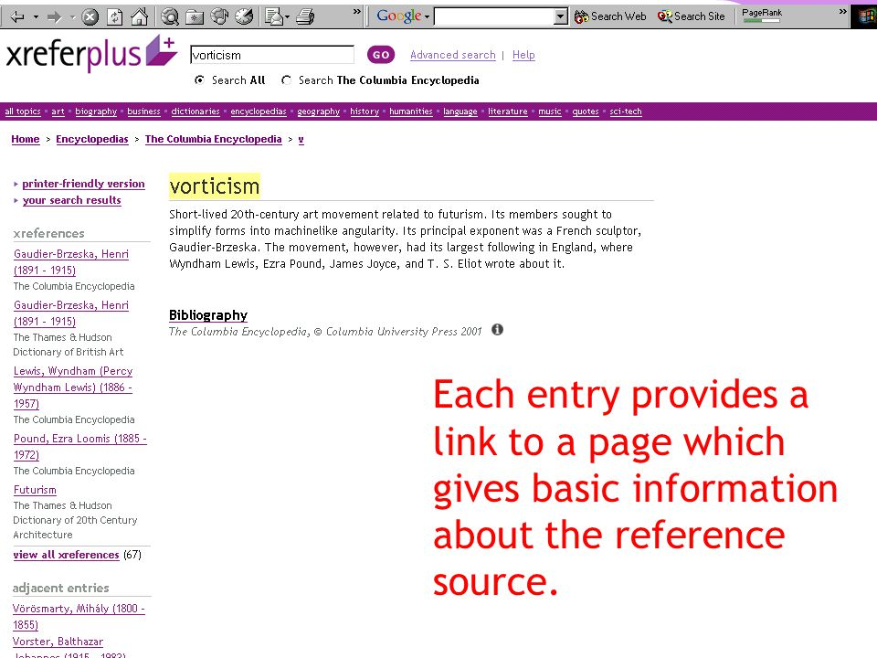 Each entry provides a link to a page which gives basic information about the reference source.