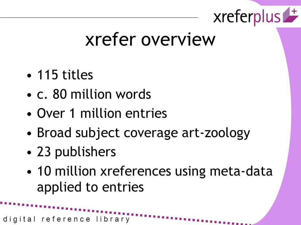 xrefer overview 115 titles c.