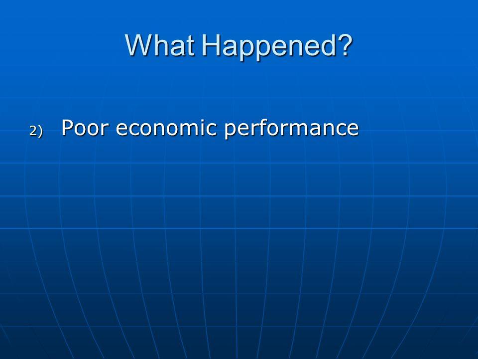 What Happened 2) Poor economic performance