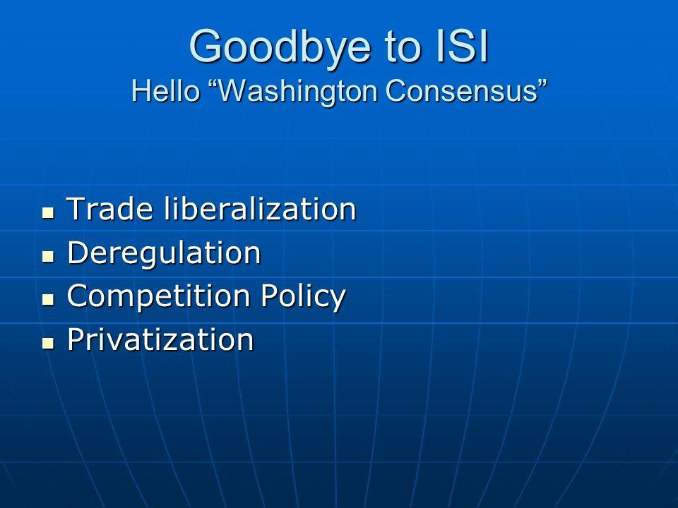 Goodbye to ISI Hello Washington Consensus Trade liberalization Trade liberalization Deregulation Deregulation Competition Policy Competition Policy Privatization Privatization