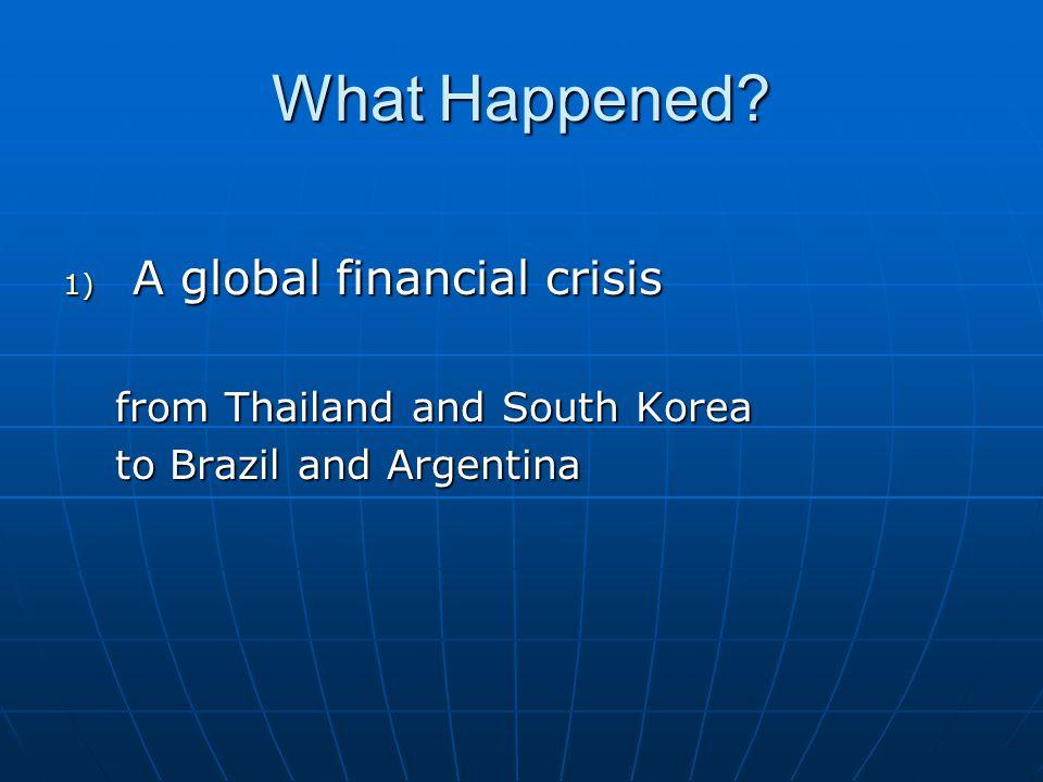What Happened? 2) Poor economic performance