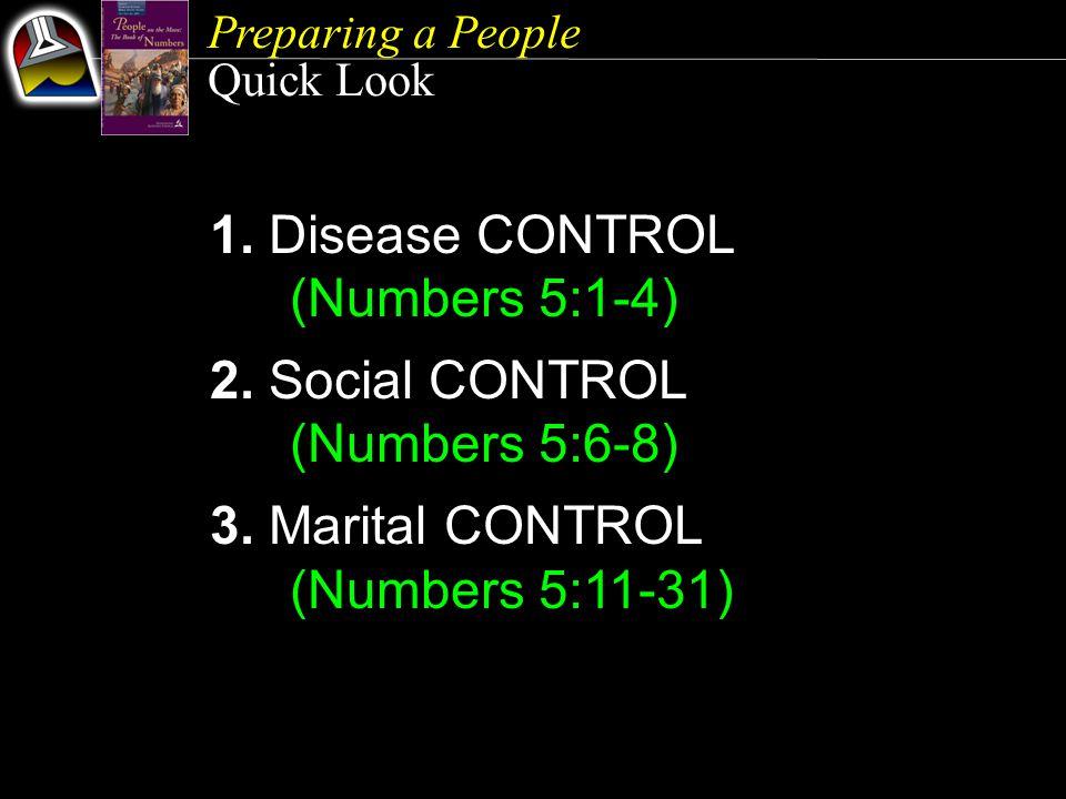 Preparing a People Quick Look 1. Disease CONTROL (Numbers 5:1-4) 2.