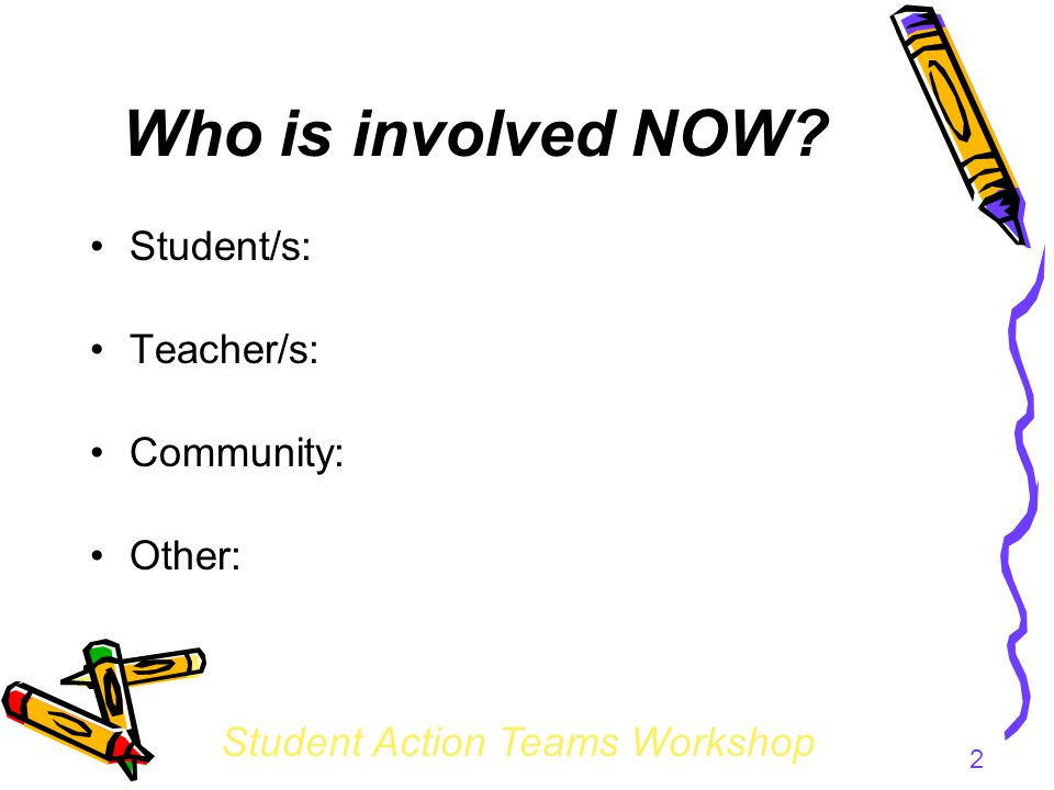 Student Action Teams Workshop 2 Who is involved NOW Student/s: Teacher/s: Community: Other: