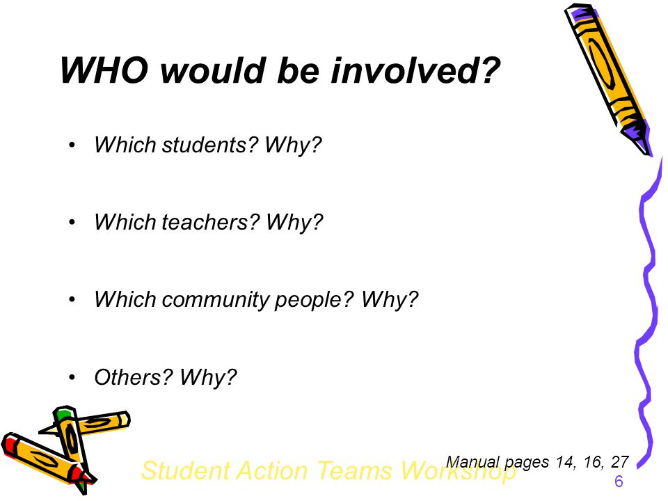 Student Action Teams Workshop 6 WHO would be involved.