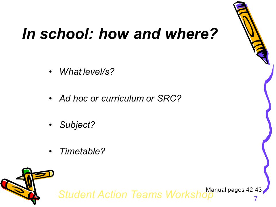 Student Action Teams Workshop 7 In school: how and where.