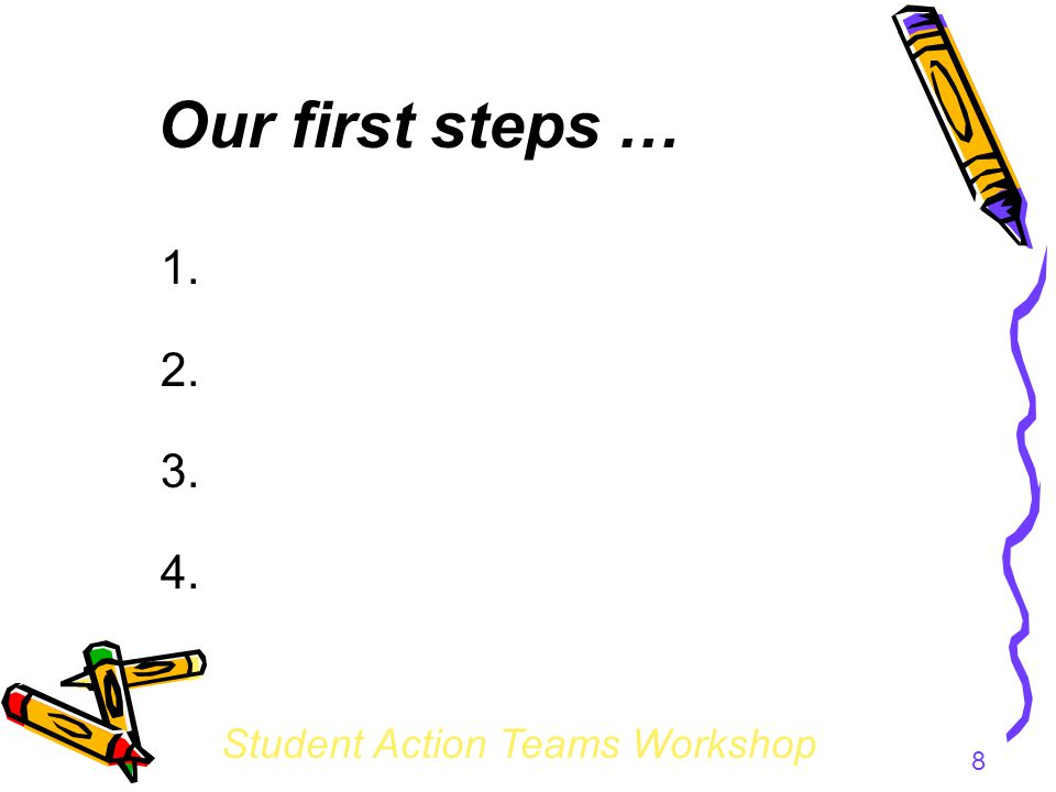 Student Action Teams Workshop 8 Our first steps … 1. 2. 3. 4.