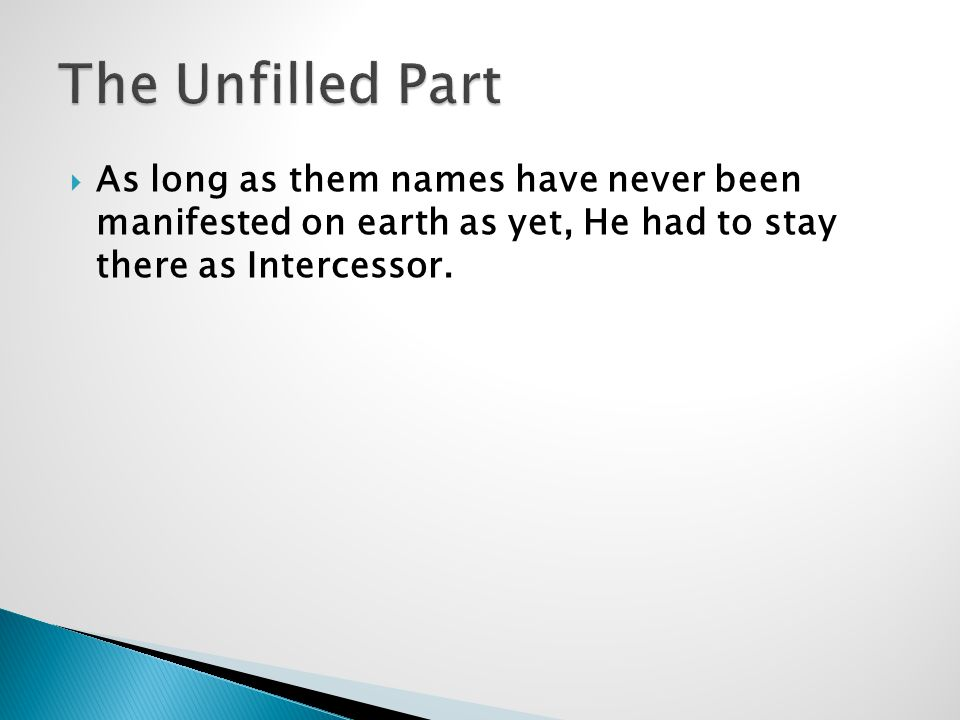  As long as them names have never been manifested on earth as yet, He had to stay there as Intercessor.