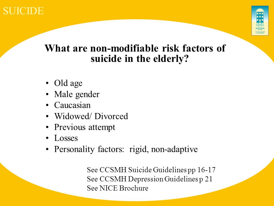 SUICIDE What are non-modifiable risk factors of suicide in the elderly.