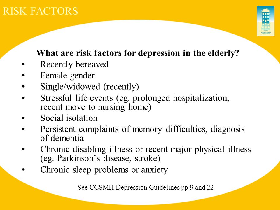 RISK FACTORS What are risk factors for depression in the elderly.