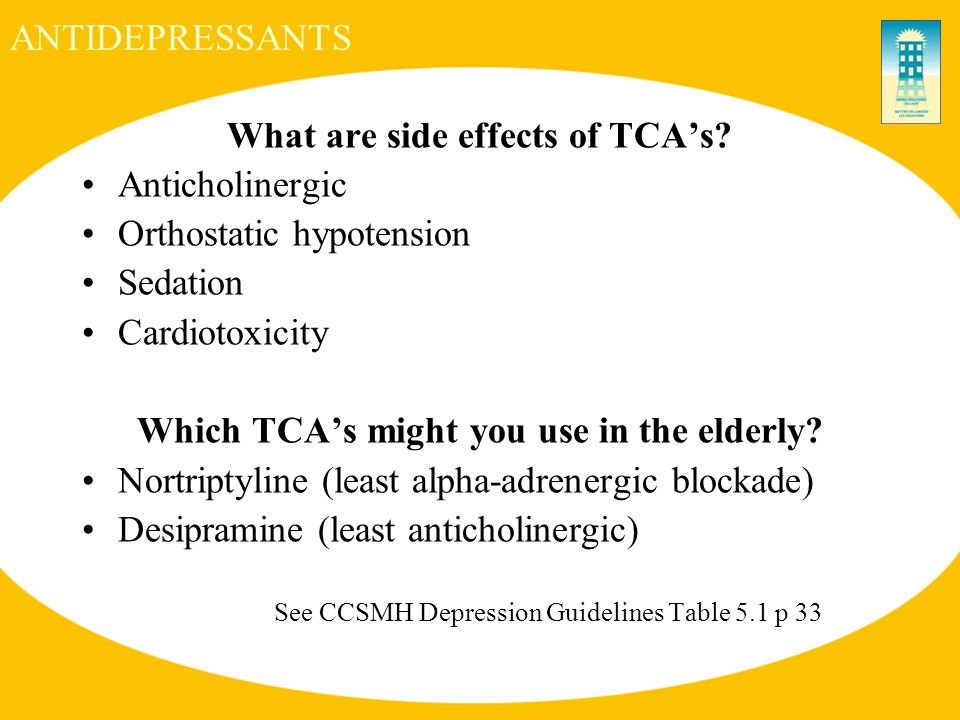 ANTIDEPRESSANTS What are side effects of TCA's.