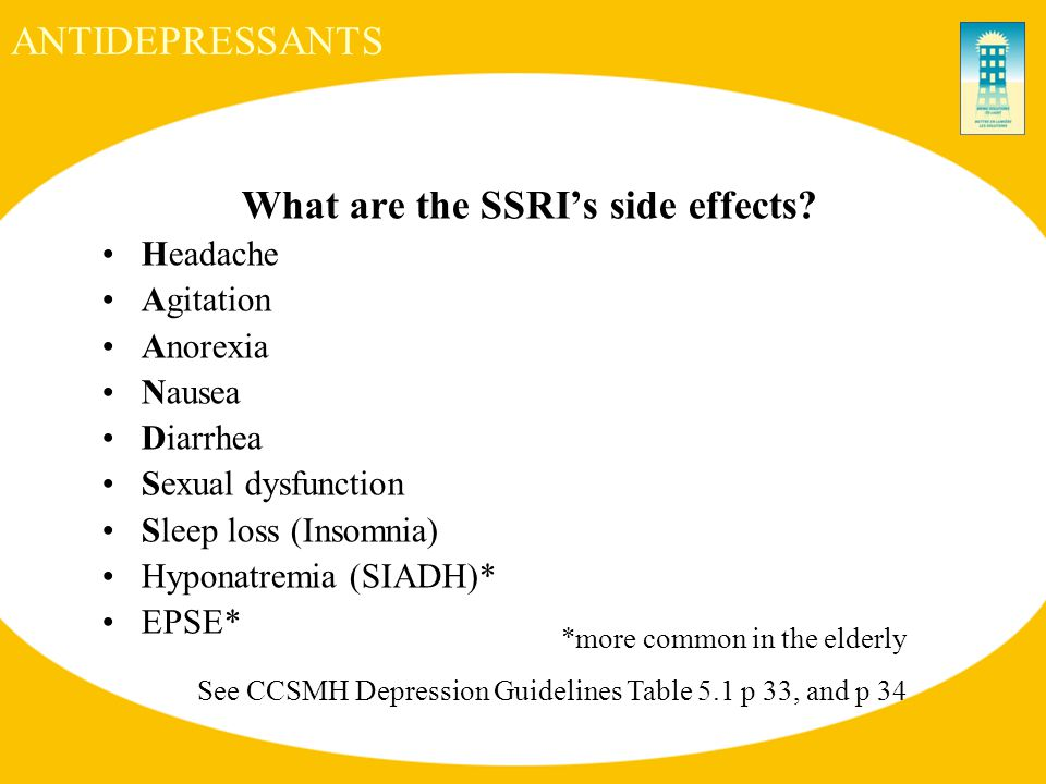 ANTIDEPRESSANTS What are the SSRI's side effects.
