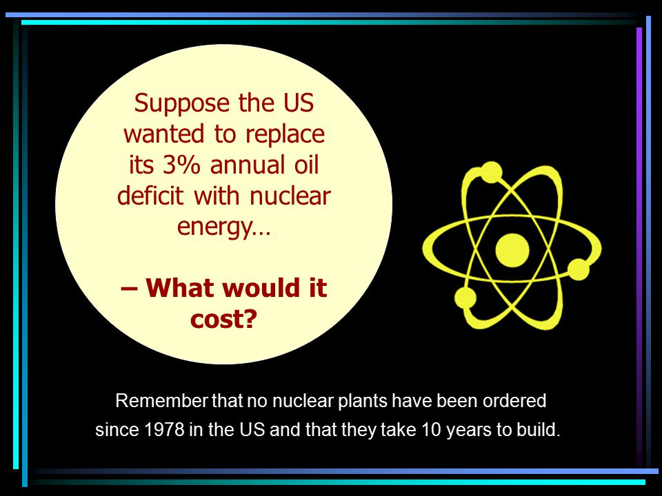 Suppose the US… Suppose the US wanted to replace its 3% annual oil deficit with nuclear energy… – What would it cost.