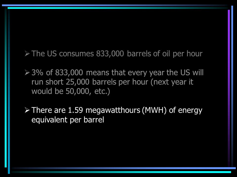  The US consumes 833,000 barrels of oil per hour  3% of 833,000 means that every year the US will run short 25,000 barrels per hour (next year it would be 50,000, etc.)  There are 1.59 megawatthours (MWH) of energy equivalent per barrel