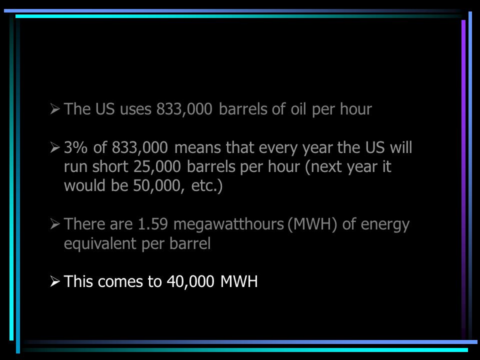  The US uses 833,000 barrels of oil per hour  3% of 833,000 means that every year the US will run short 25,000 barrels per hour (next year it would be 50,000, etc.)  There are 1.59 megawatthours (MWH) of energy equivalent per barrel  This comes to 40,000 MWH
