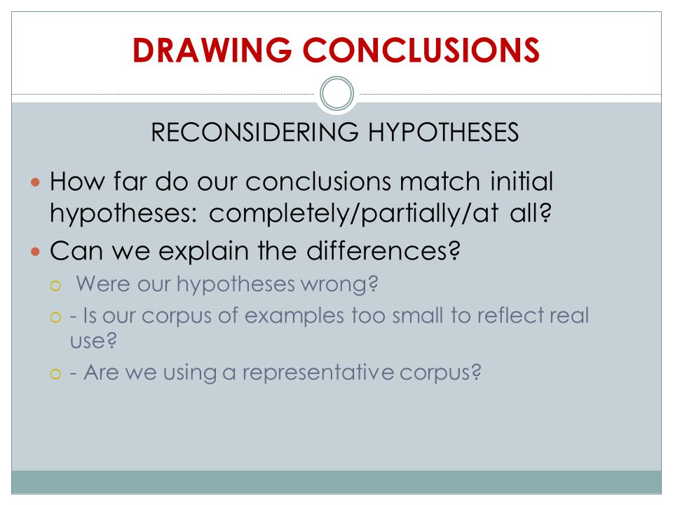 DRAWING CONCLUSIONS RECONSIDERING HYPOTHESES How far do our conclusions match initial hypotheses: completely/partially/at all.