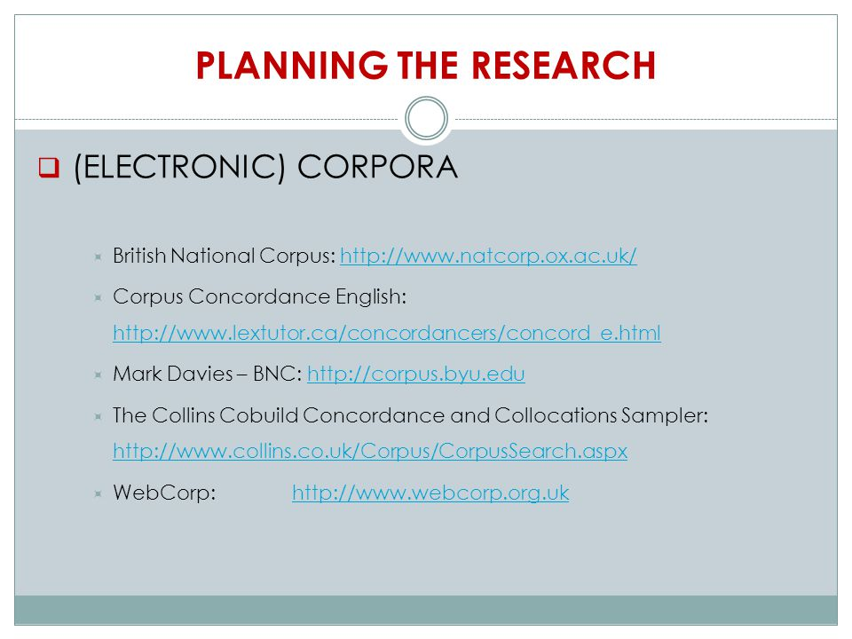 PLANNING THE RESEARCH  (ELECTRONIC) CORPORA  British National Corpus: http://www.natcorp.ox.ac.uk/http://www.natcorp.ox.ac.uk/  Corpus Concordance English: http://www.lextutor.ca/concordancers/concord_e.html http://www.lextutor.ca/concordancers/concord_e.html  Mark Davies – BNC: http://corpus.byu.eduhttp://corpus.byu.edu  The Collins Cobuild Concordance and Collocations Sampler: http://www.collins.co.uk/Corpus/CorpusSearch.aspx http://www.collins.co.uk/Corpus/CorpusSearch.aspx  WebCorp: http://www.webcorp.org.ukhttp://www.webcorp.org.uk