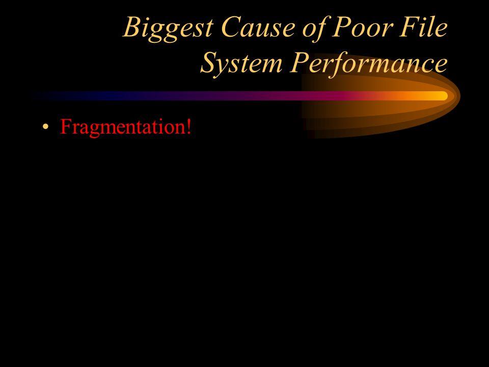 Biggest Cause of Poor File System Performance Fragmentation!
